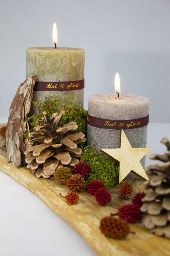 autumncandle personalised with a woven textribbon